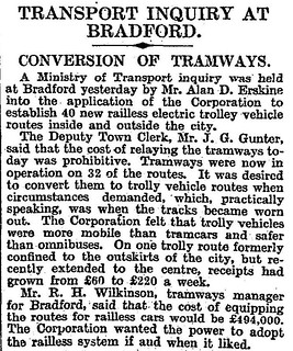 11th April 1929 - Transport Inquiry : Conversion of trams to trolley buses | by Bradford Timeline