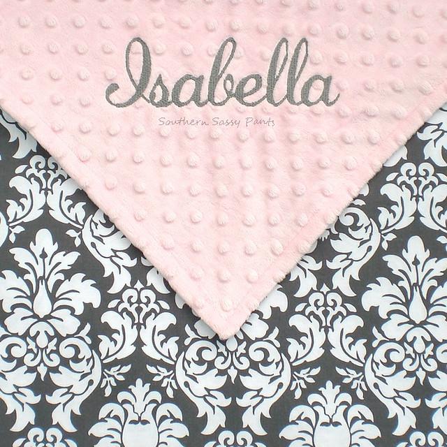 Embroidered Baby Girl Blanket - Gray Damask