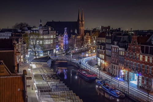 street longexposure travel urban netherlands amsterdam night canal cityscape spot aerial exploration muntplein nikond5300