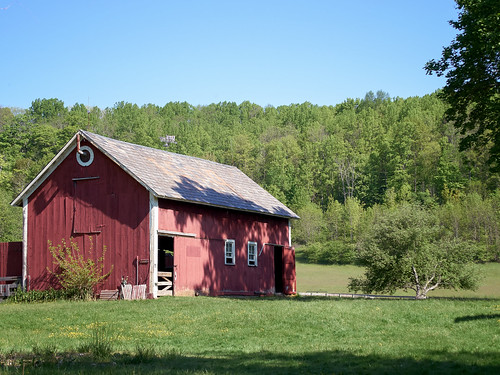 trees ohio red building grass architecture barn rural landscape bath village outdoor historical countyside