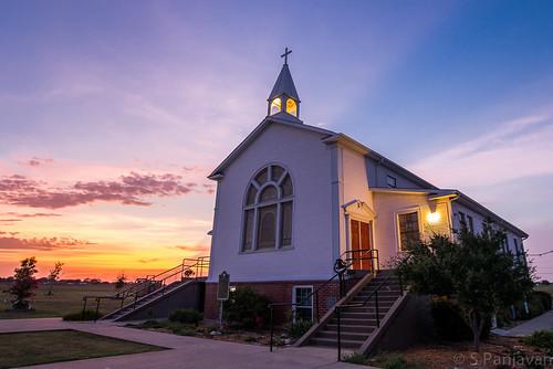 sunset sky church clouds evening texas allen unitedstates