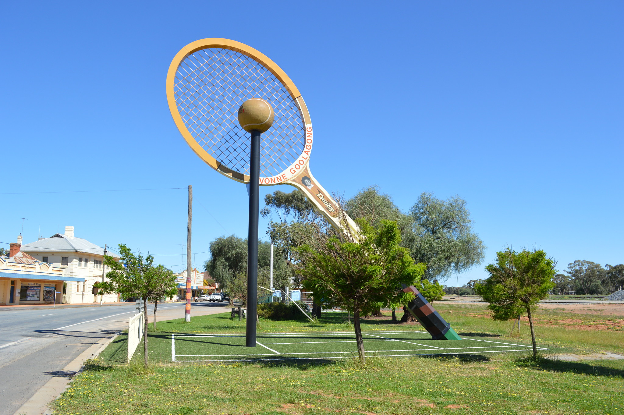 Evonne Goolagong Giant Tennis Racquet, Barellan