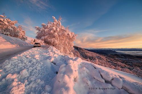 snow alps sunrise dawn alba neve inverno alpi mottarone beppeverge
