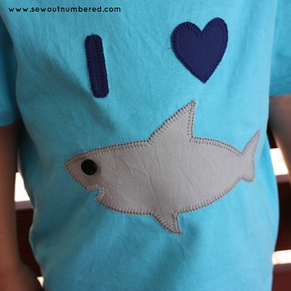 shark applique boys tshirt closeup