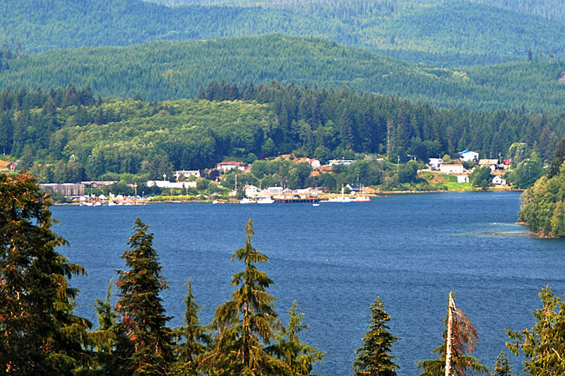 Coal Harbour viewed across Holberg Inlet, Vancouver Island, British Columbia
