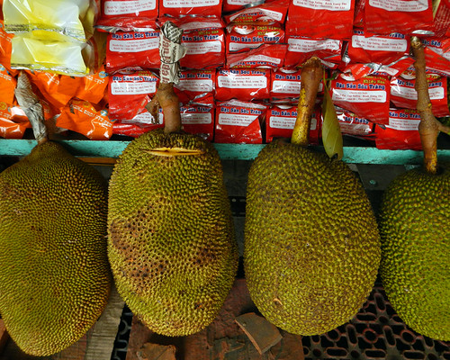 Jackfruit for sale at a market in the Mekong Delta, Vietnam