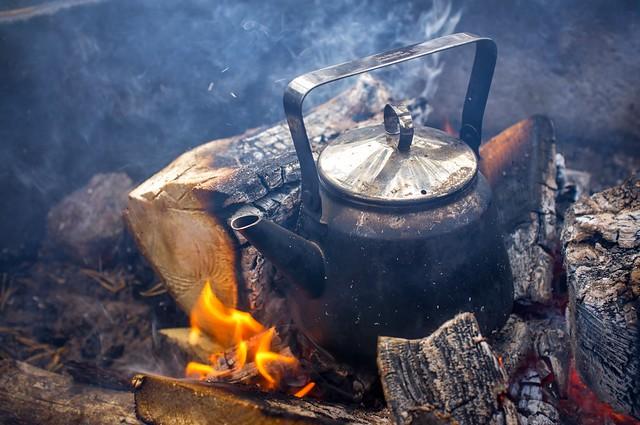 Coffee Pan in the Fireplace