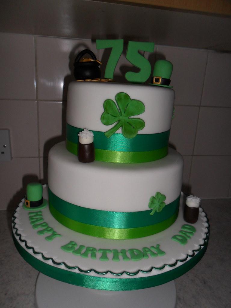 Pleasing Irish 75Th 2 Tier Clover Guiness Happy Birthday Cake A Photo On Birthday Cards Printable Riciscafe Filternl