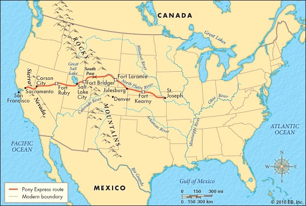 Map of Pony Express Route, Undated | This was the route of t ... Salt Lake Express Route Map on greyhound route map, beaver express route map, salt mine under lake erie ohio,