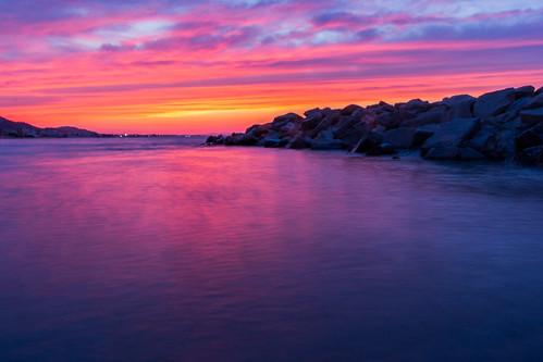 pink blue sunset sea sky orange sun beach home nature water beauty long exposure mediterranean tunisia goldenhour hammamchatt