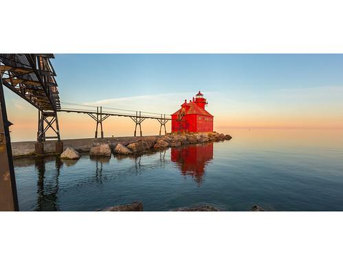 sunset lighthouse lake water wisconsin lakemichigan shore doorcounty breakwater may2016meeting