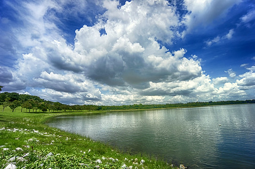 blue water clouds singapore day sony sunny wideangle reservoir bedok bedokreservoir emount nex3 sel1018