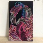 思ったより、制作時間がかかりました。。集中力低迷です。  20140407制作   「青いリボンの行方」 生地に刺繍  27.5×45.5cm  #fuge  #embroidery #flamingo #刺繍 #フラミンゴ