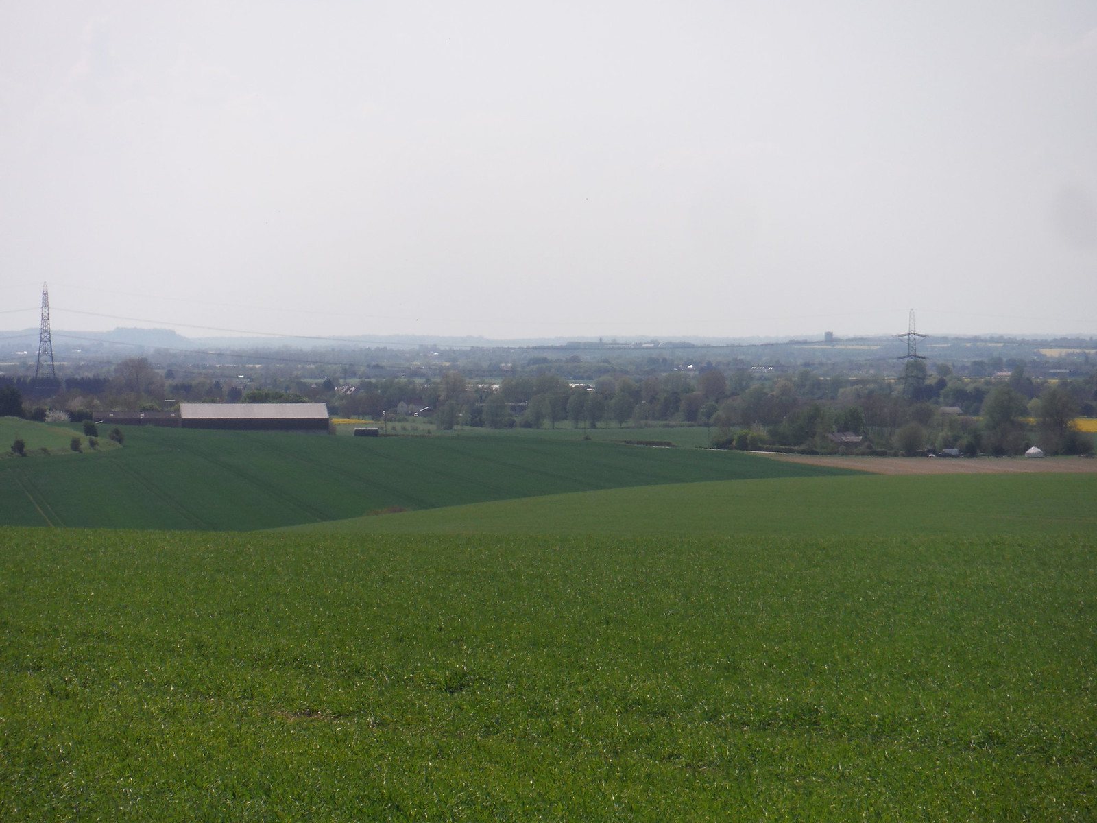 Caldecote, from Newnham Hill, with Sharpenhoe Clappers and Pulloxhill Water Tower behind SWC Walk 91 - Baldock Circular