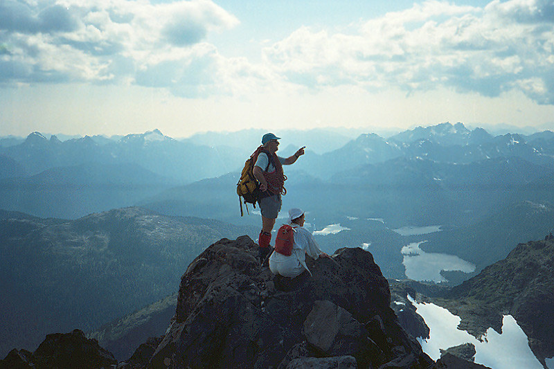 Hikers on the summit of the Golden Hinde in Strathcona Provincial Park on Vancouver Island, British Columbia, Canada
