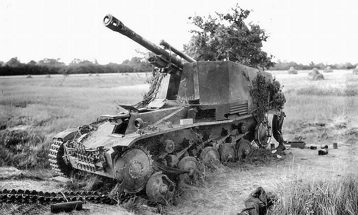 Destroyed Wespe SPG in Normandy, 1944