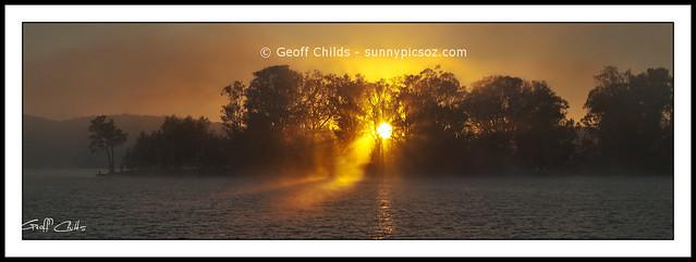 Misty Sunrise Through Trees. Original exclusive photo art.