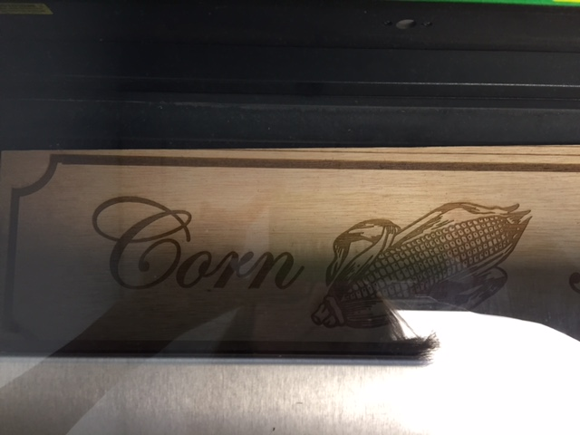 Laser engraving in progress