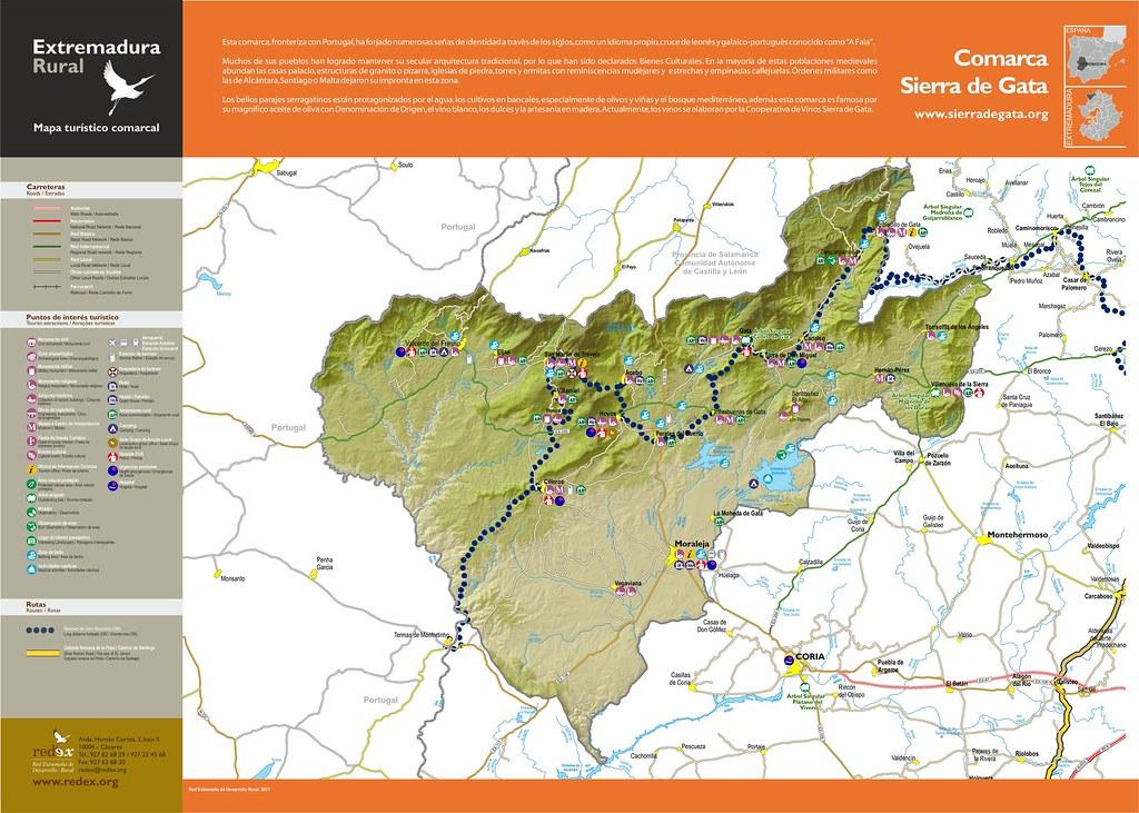 Mapa De Extremadura Comarcas.13 Sierra De Gata Mapa Turistico De La Comarca De Sierra D
