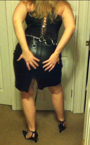 Leather Skirt and Chain Belt