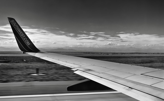 Roaring Down the Runway (Black & White)