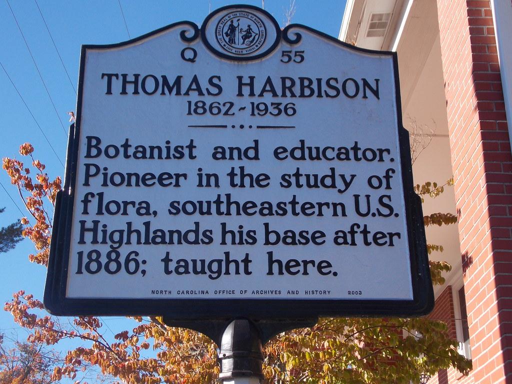 Historic Marker---Thomas Harbison (Botanist)---Highlands