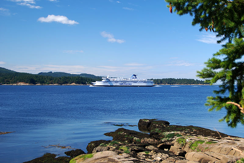 BC Ferry in Active Pass between Mayne Island and Galiano Island, Gulf Islands, BC