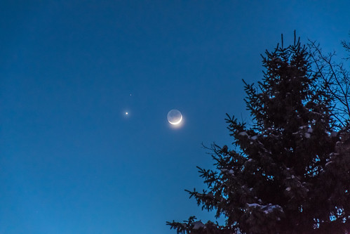 winter mars moon ny cold evening venus upstate crescent conjunction