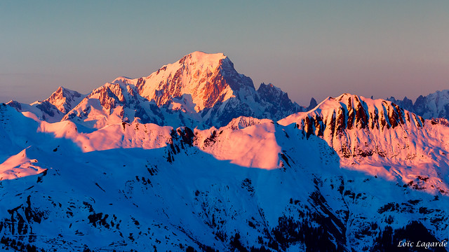 Sunset on Mont Blanc from Col de la Loze in Courchevel