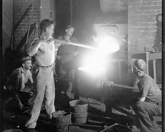 03. Jimmy O'Neil Jr. or Pat O'Neil tapping out at 17th and Hull Street foundry.  1930 to 1940?.