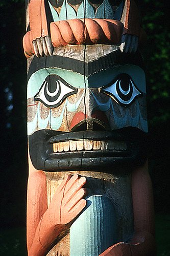 Nuu-chah-nulth Totem Pole, Pacific Rim, West Coast Vancouver Island, British Columbia, Canada