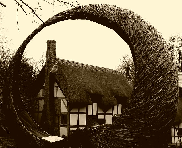 Anne Hathaway's cottage sepia