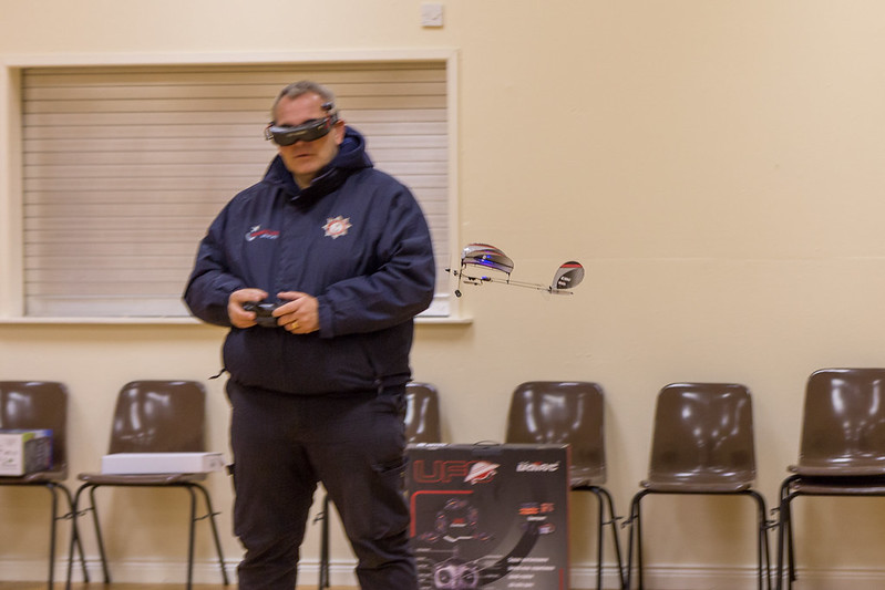 Phil flying behind himself with FPV Goggles on.