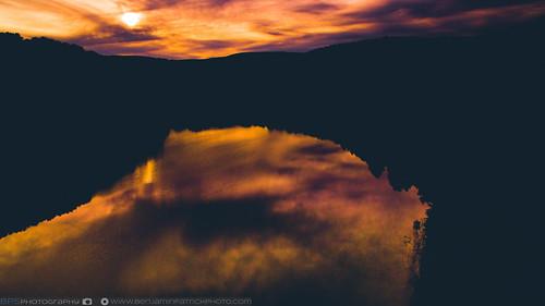 sunset lake reflection us unitedstates pennsylvania blaze phantom johnstown drone blazing dji phantom3pro djiphantom3pro