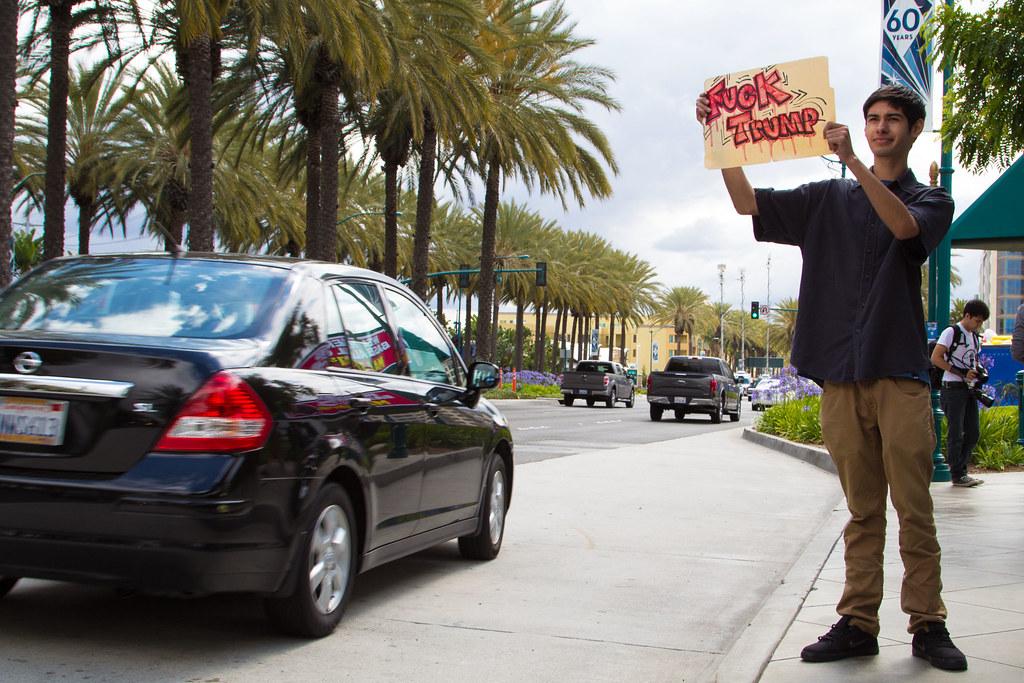 Anti-Trump Protester Outside Disneyland