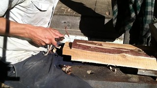 shavehorse and drawknife