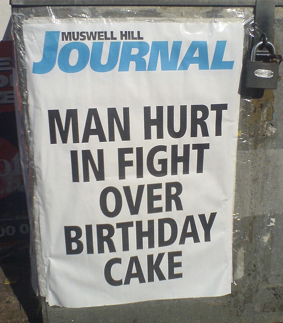 MAN HURT IN FIGHT OVER BIRTHDAY CAKE