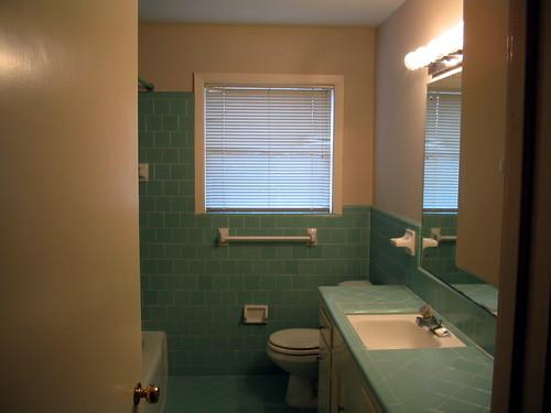blue modern vintage bathroom fifties houston retro 1950s