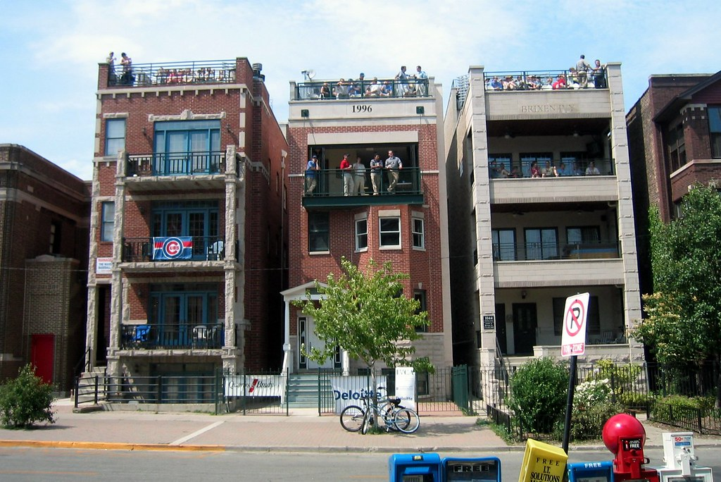 Chicago: Wrigley Field - Left Field Rooftops on Waveland Ave