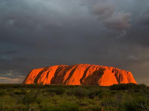 Uluru glowing