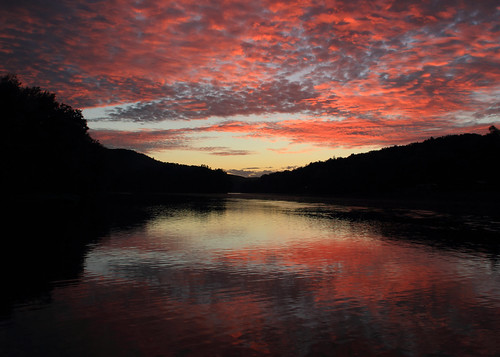pink sunset red reflection water clouds river dusk pennsylvania allegheny tidioute pawilds