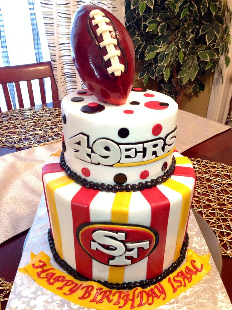 Brilliant San Francisco 49Ers Cake Smooth Buttercream With Fondant Flickr Funny Birthday Cards Online Overcheapnameinfo