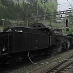 Dampfzug mit SBB Dampflokomotive A 3/5 705 + SBB Dampflok C 5/6 2978  Elefant am Bahnhof Göschenen auf der Gotthard Nordrampe der Gotthardbahn im Kanton Uri in der Schweiz