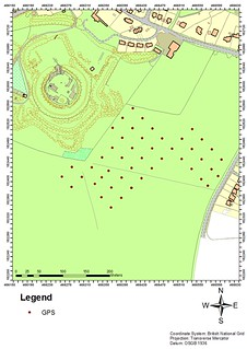 Shows the GPS points marking area covered by the magnetometry on Basingstoke Common