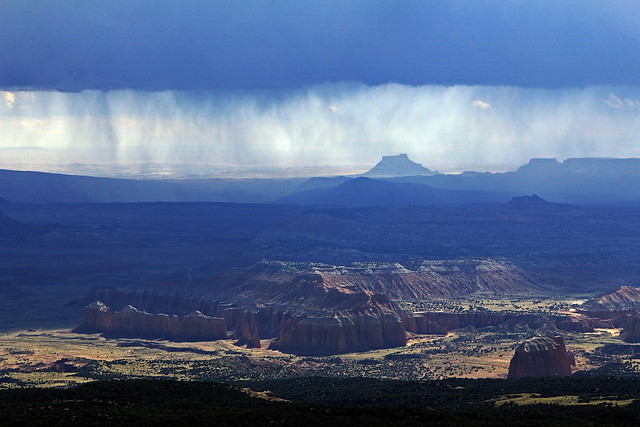 Rain Falling Over Cathedral Valley