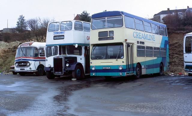 1987-03-28 GHV 982N Daimler Fleetline-Park Royal, BSV 892, BWO 858B of Morris Bros,  Swansea