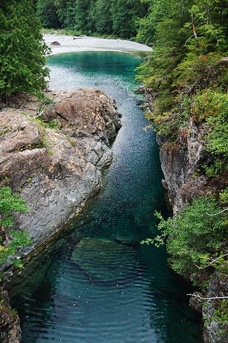Nahmint River at Nahmint Lake, near Port Alberni, Vancouver Island, British Columbia