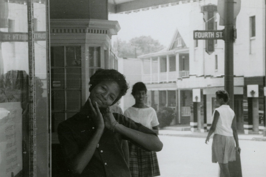 Looking at the camera, Darwyn L. White, State Theater protest, Farmville, Va., August 1963