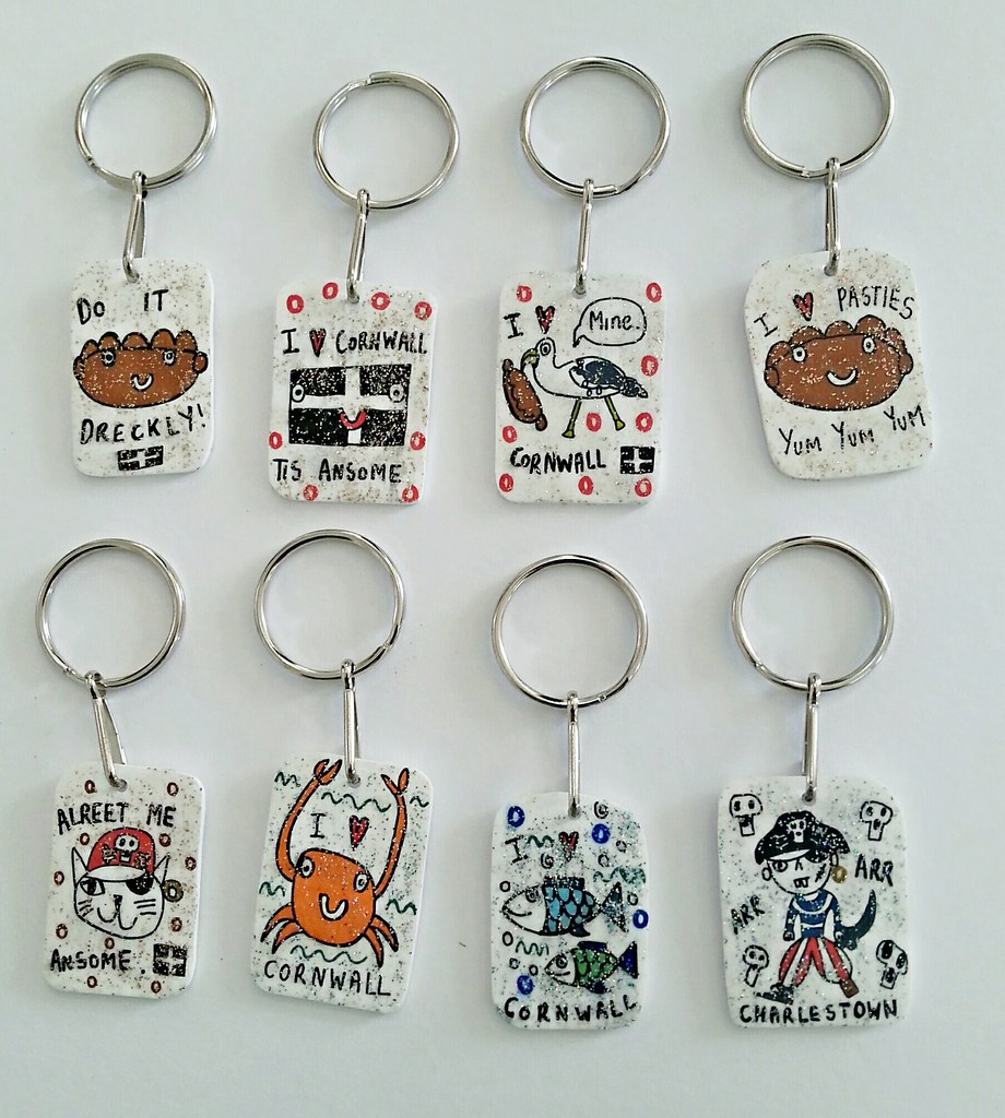 2321f3bb928bd0 Handmade Keyrings | Drawings on shrink plastic. | Gemma Austen | Flickr