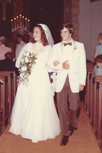 Deb & John Woodhouse walk down the aisle, 9-4-82